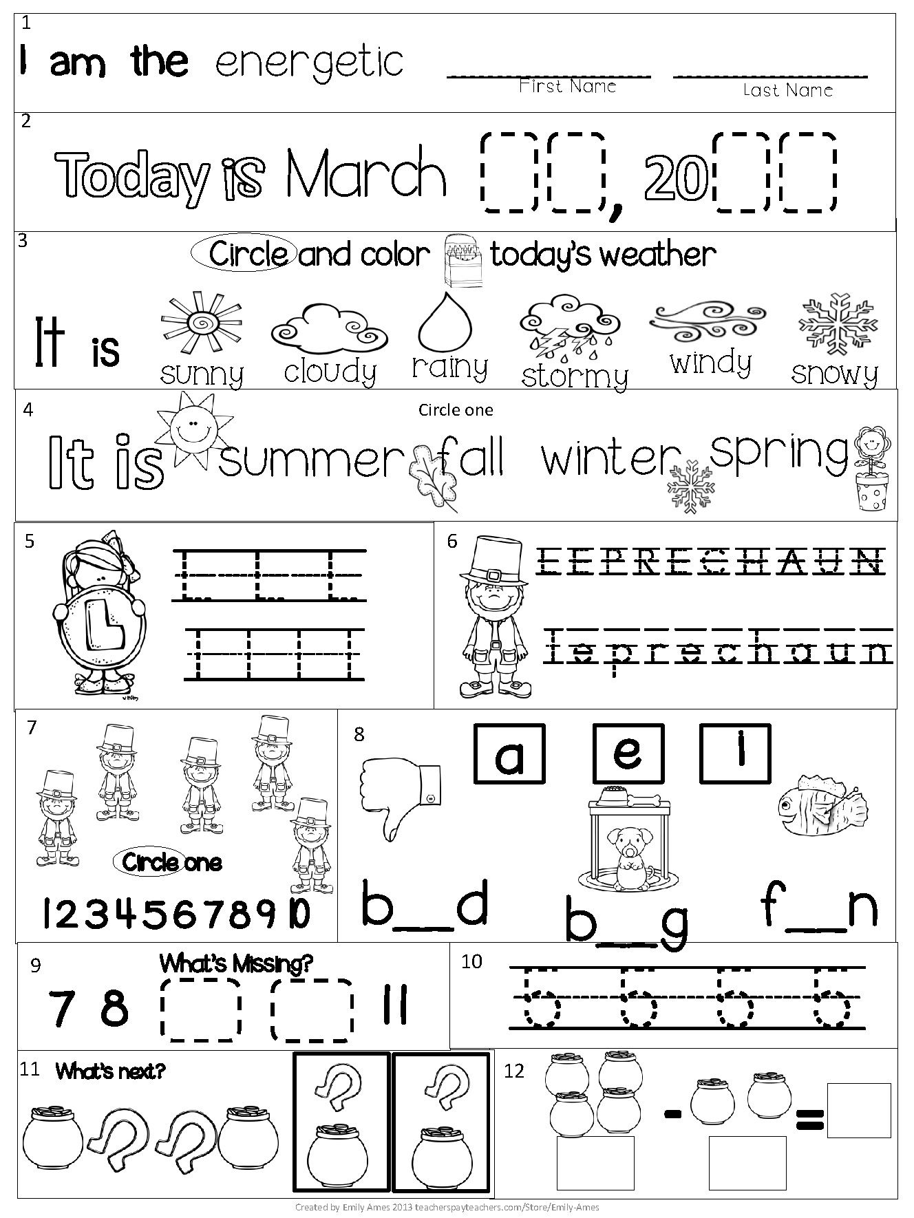 March Kindergarten Morning Work (Common Core) | Kindergarten