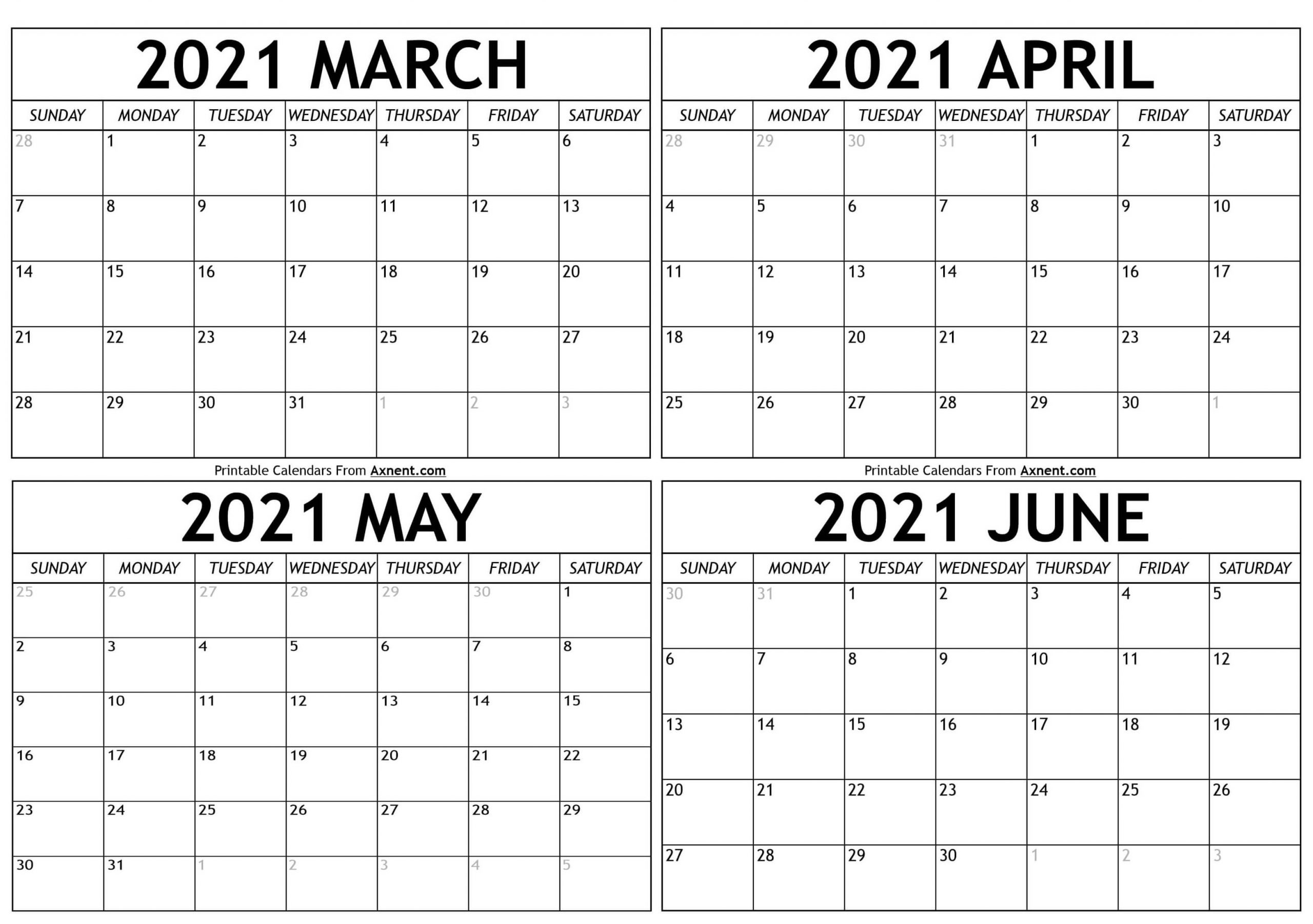 March To June 2021 Calendar Templates - Time Management