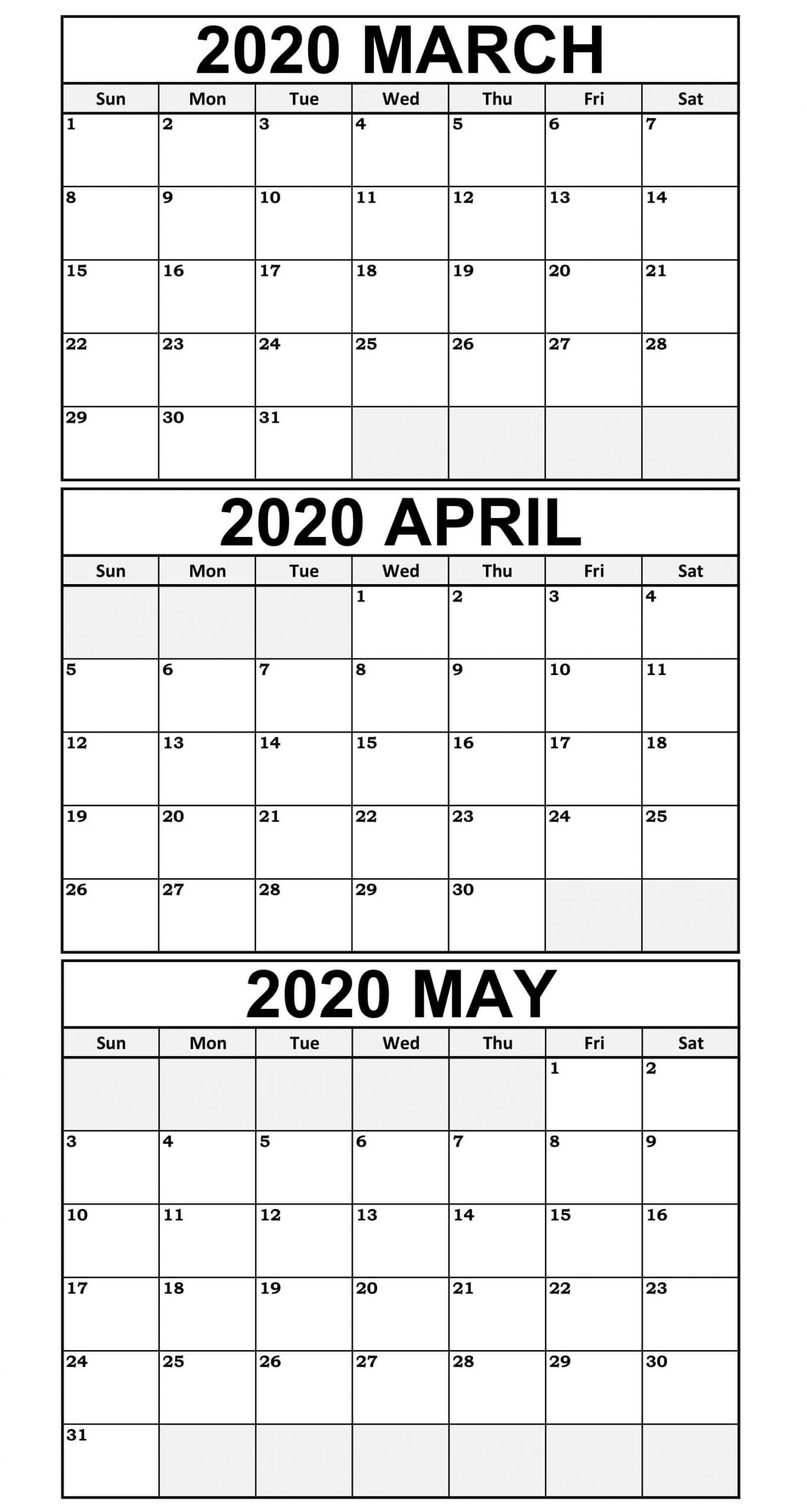 March To May Calendar 2020 Templates In 2020 | Calendar Word