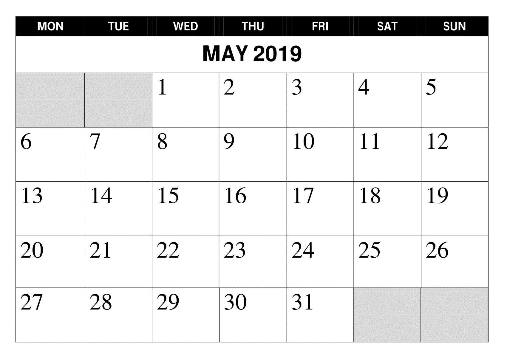 May 2019 Printable Google Calendar | Holiday Calendar