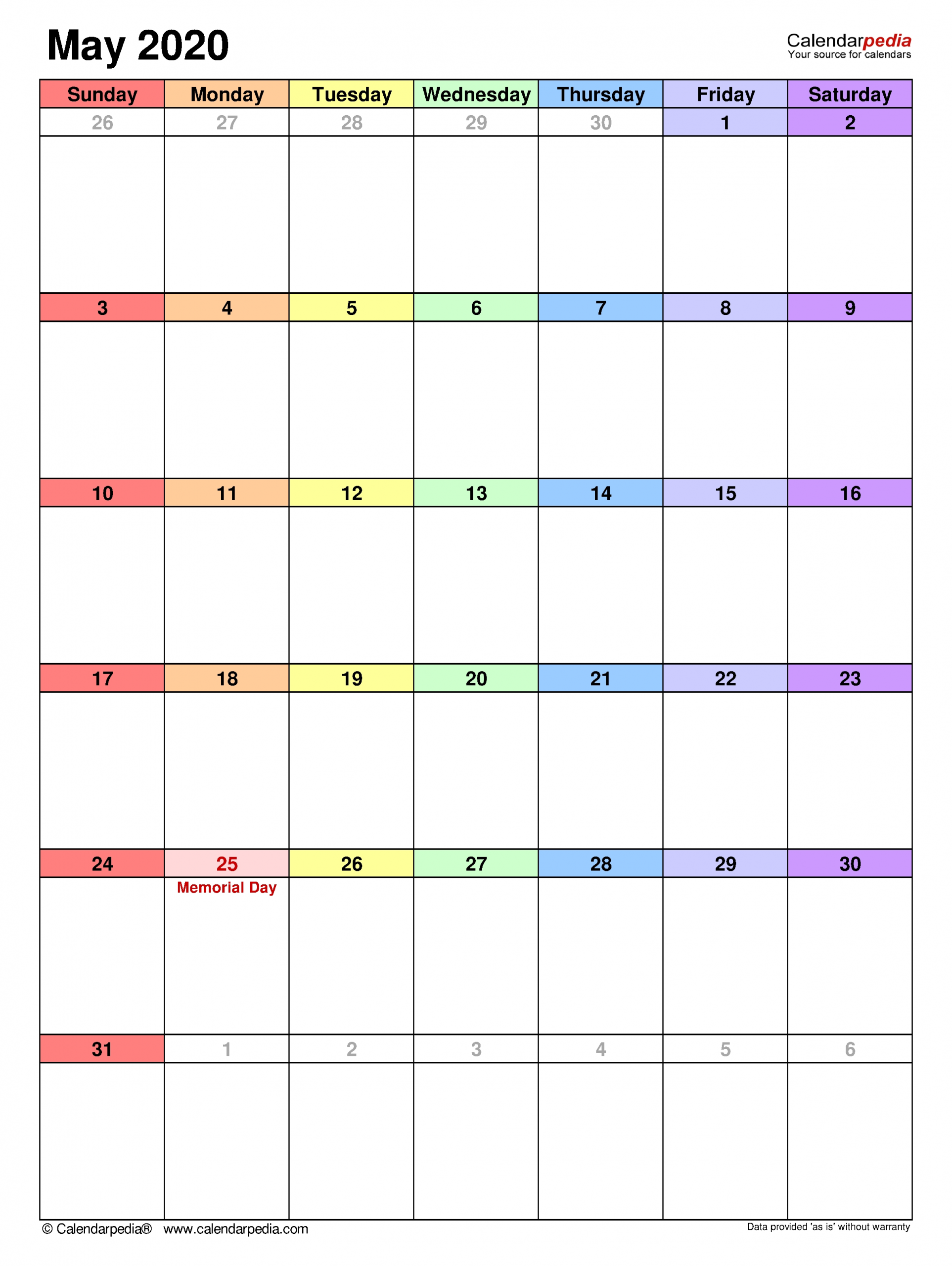 May 2020 Calendar | Templates For Word, Excel And Pdf