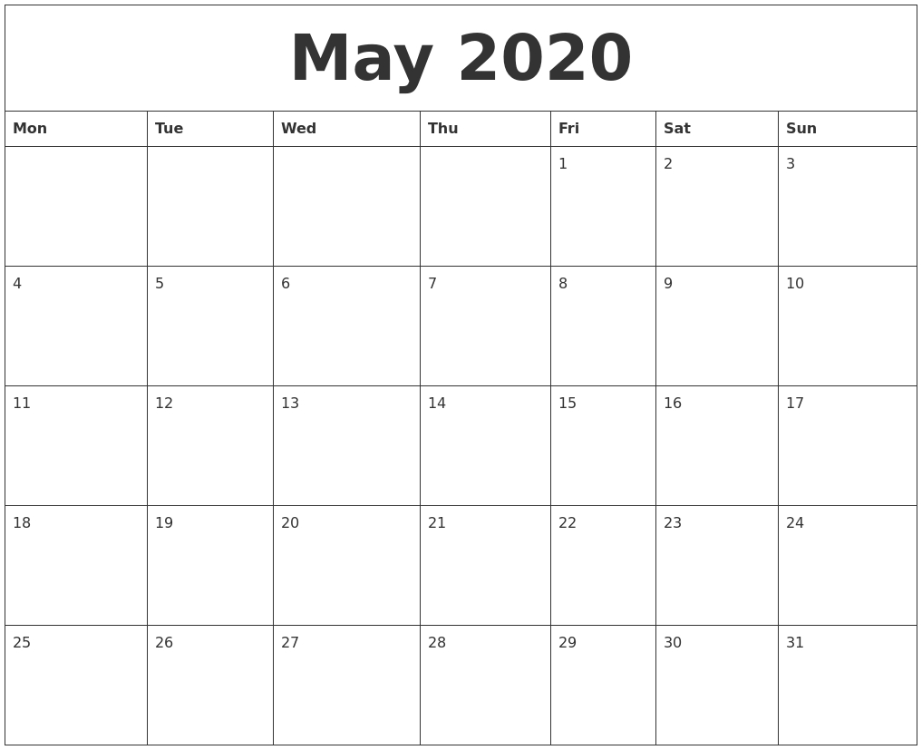 May 2020 Free Printable Blank Calendar