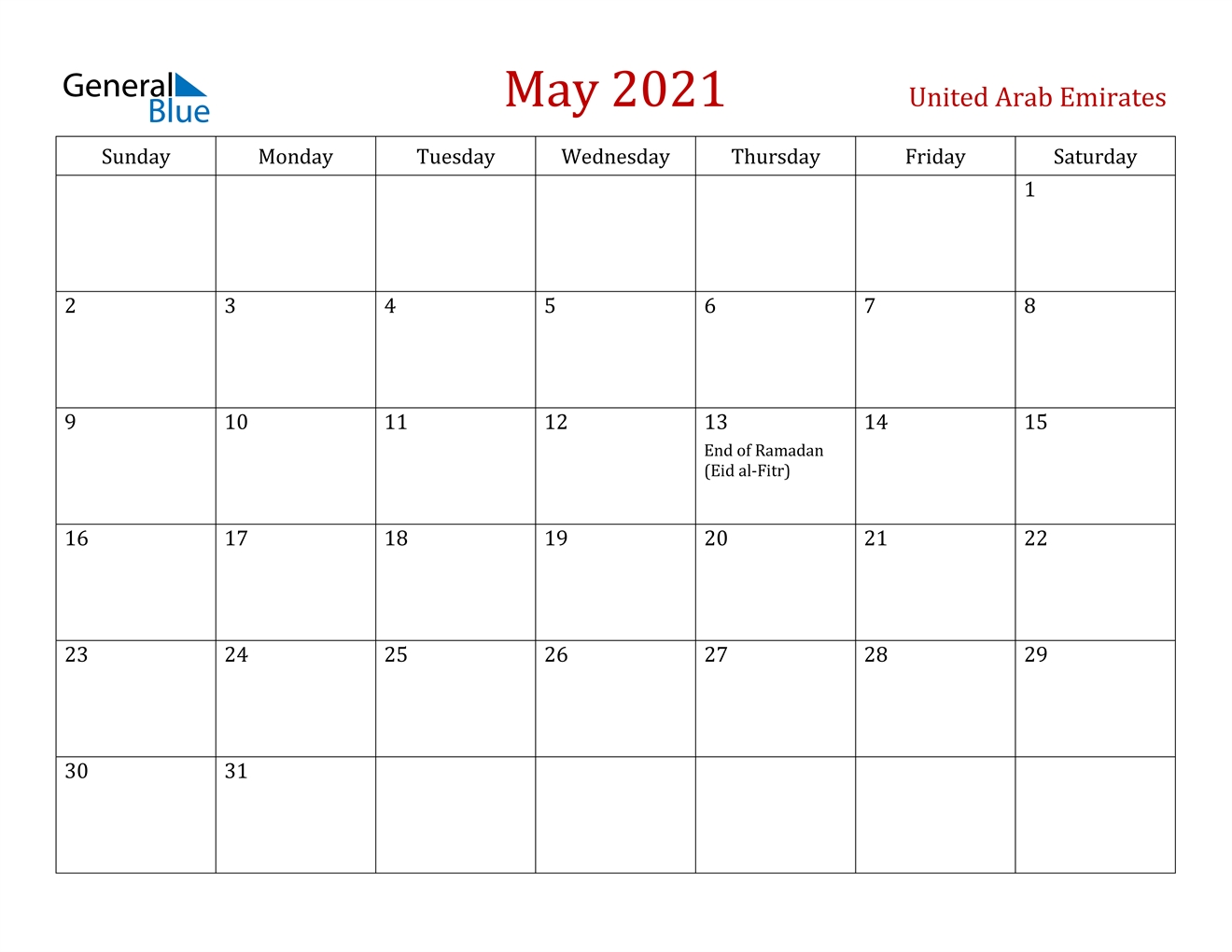May 2021 Calendar - United Arab Emirates