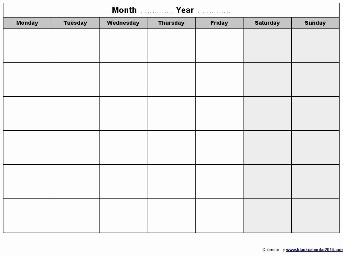 Monday Through Friday Schedule Template New Weekly Calendar