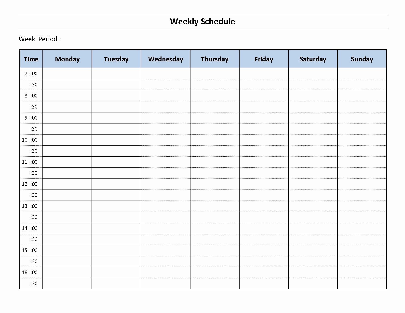 Monday Through Sunday Schedule Template New Printable Weekly