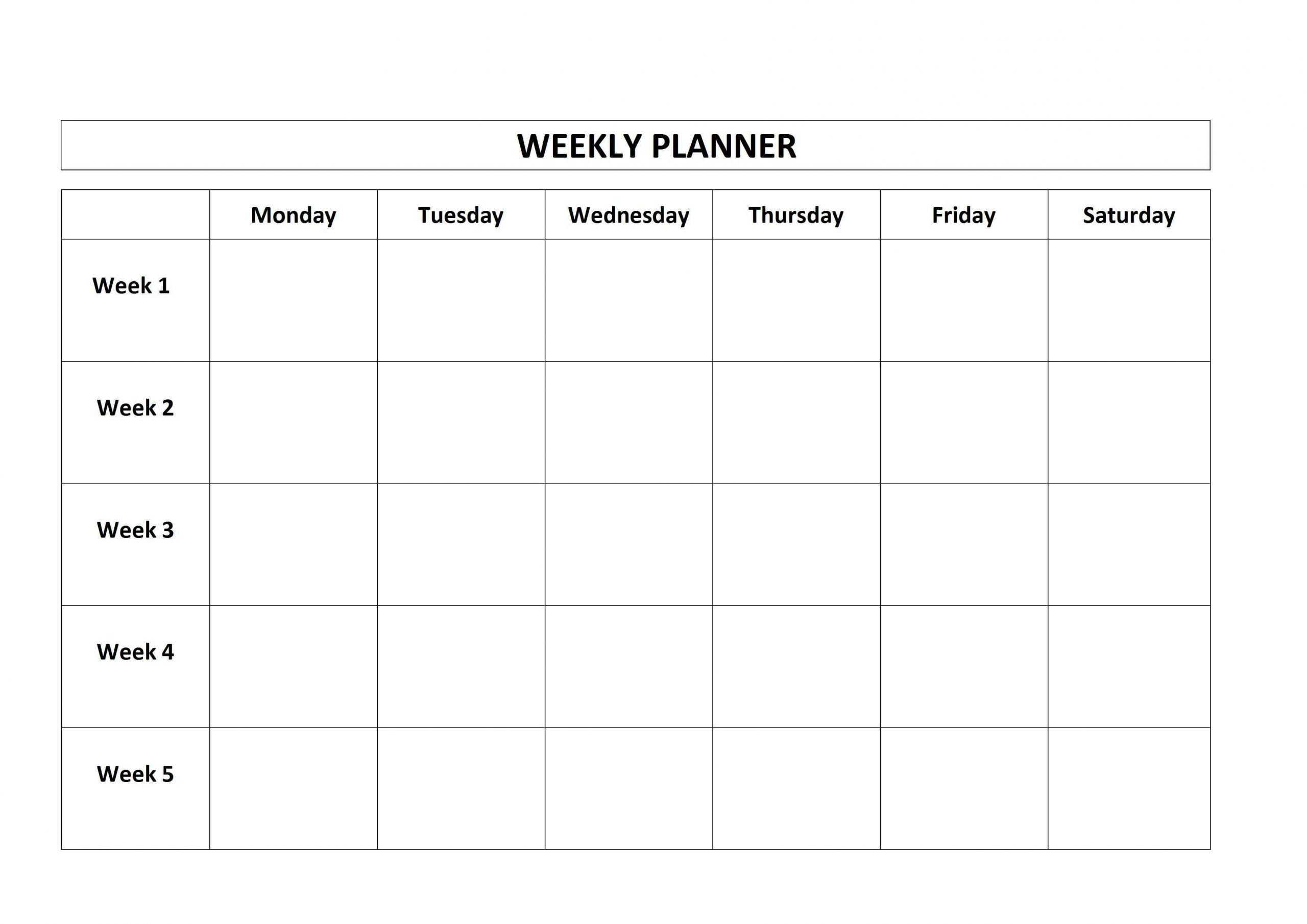 Monday To Friday Planner Template | Calendar For Planning