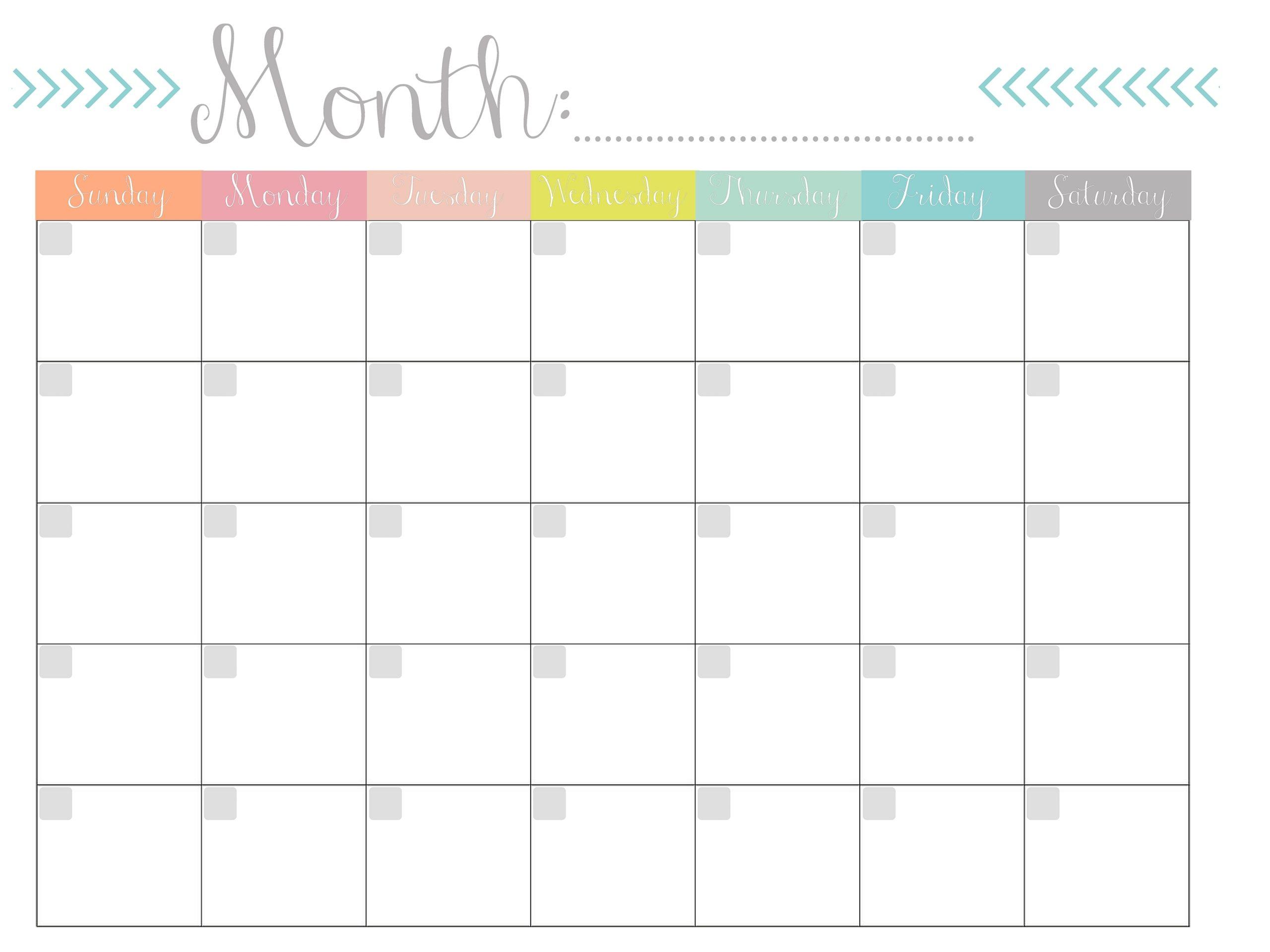 Monthly Calendar {Free Printable}