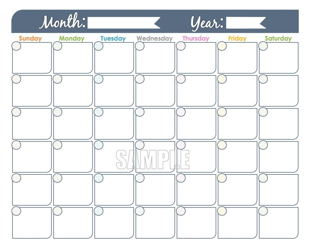 Monthly Calendar Printable Undated Fillable Family | Etsy