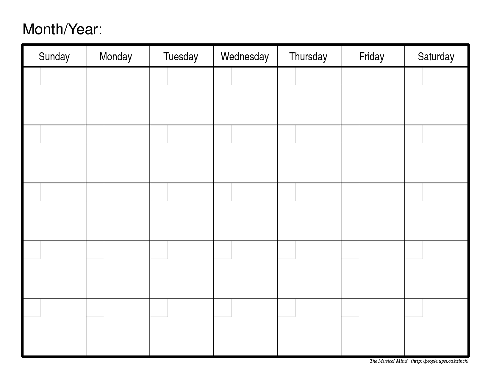 Monthly Calendar Template | Blank Calendar Pages, Weekly