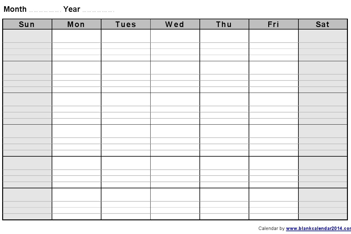 Monthly Calendar With Lines – Calendar Printable Week