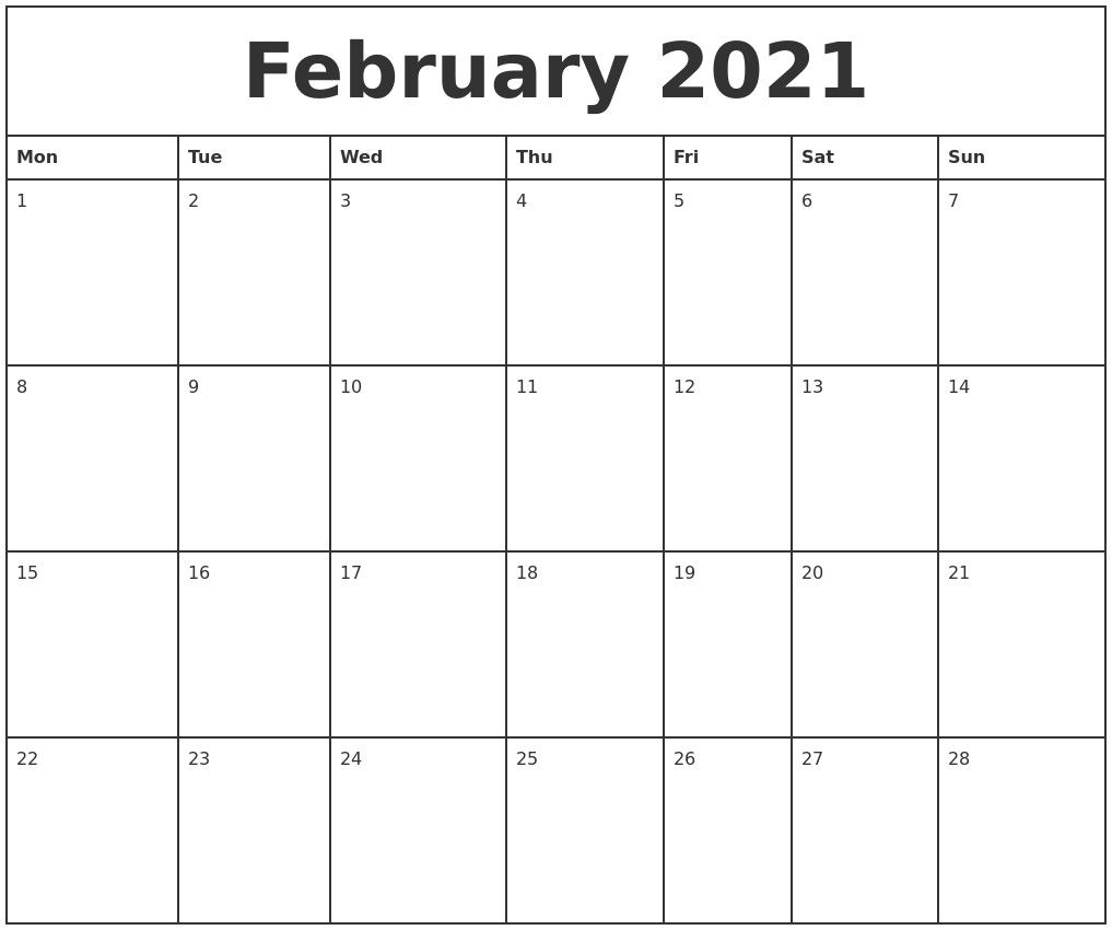 Free 2021 Monthly Calendars That Are Printable