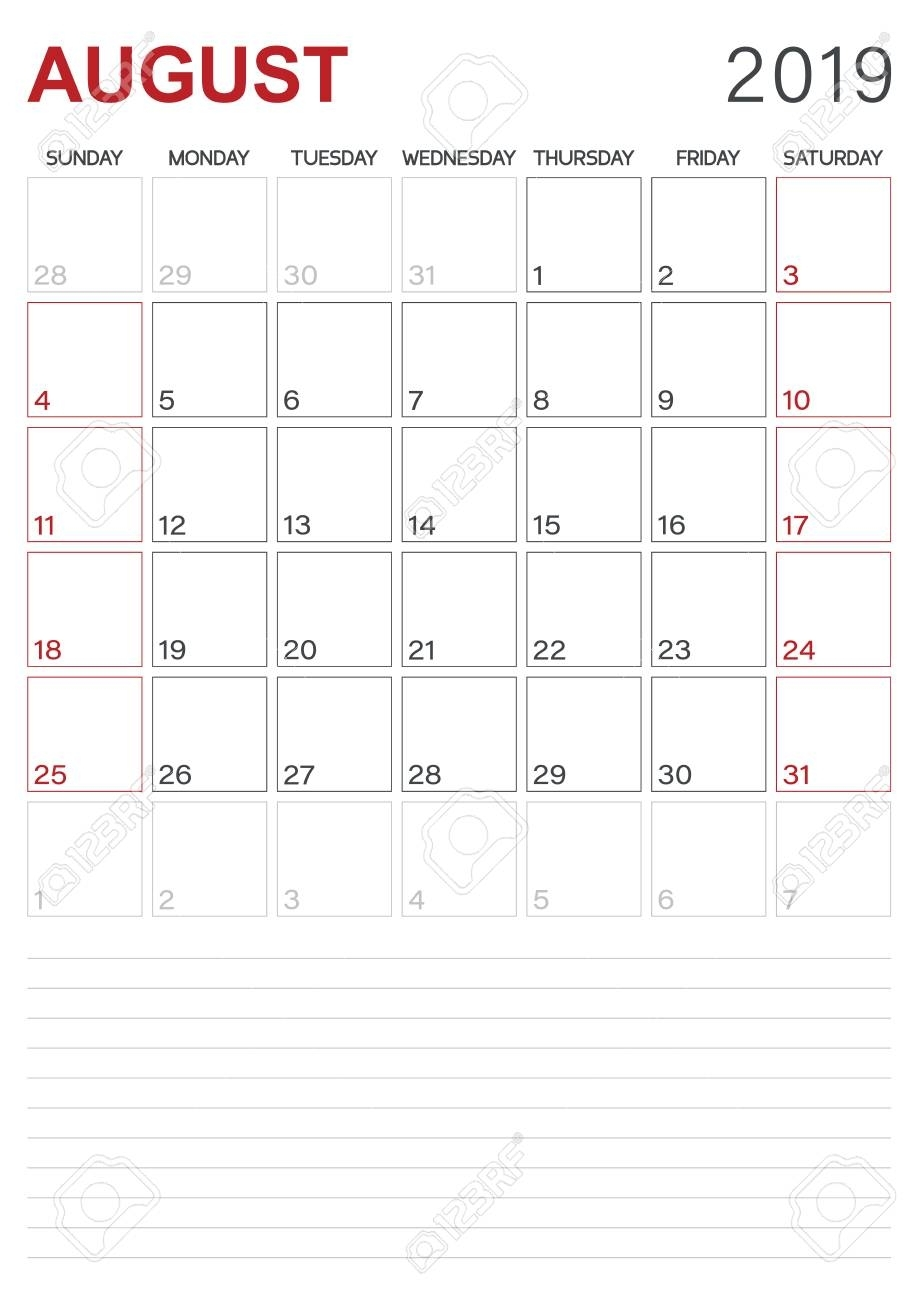 Monthly Planner Calendar August 2019, Week Starts On Sunday,..