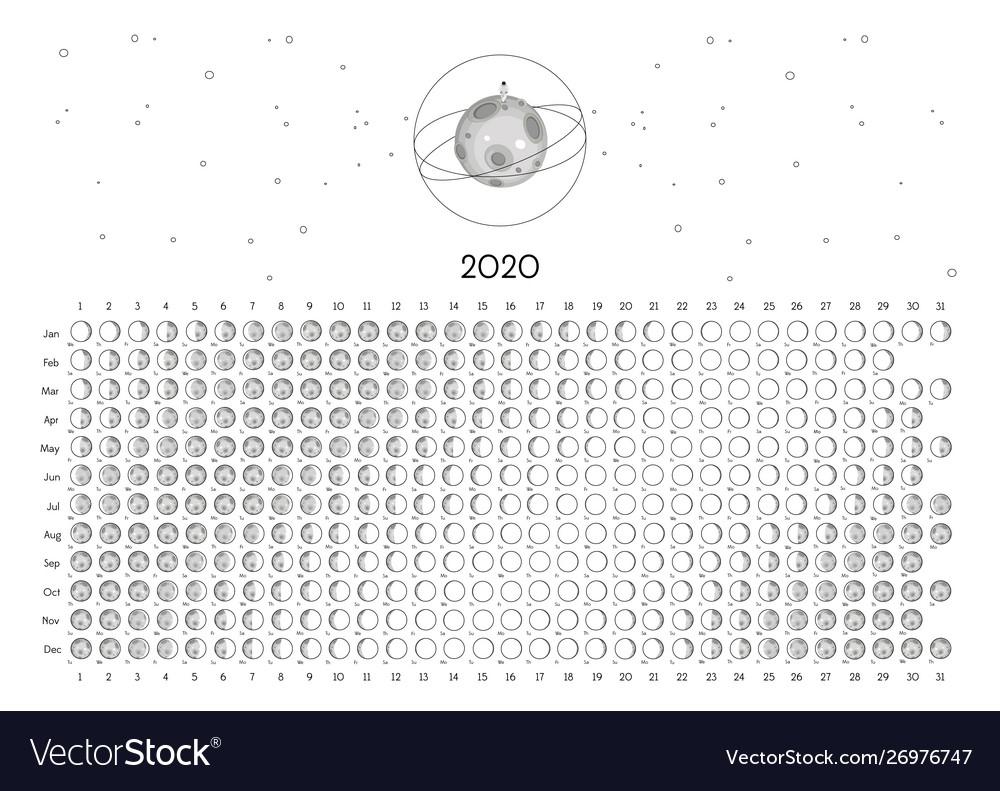 Moon Calendar 2020 Northern Hemisphere Royalty Free Vector