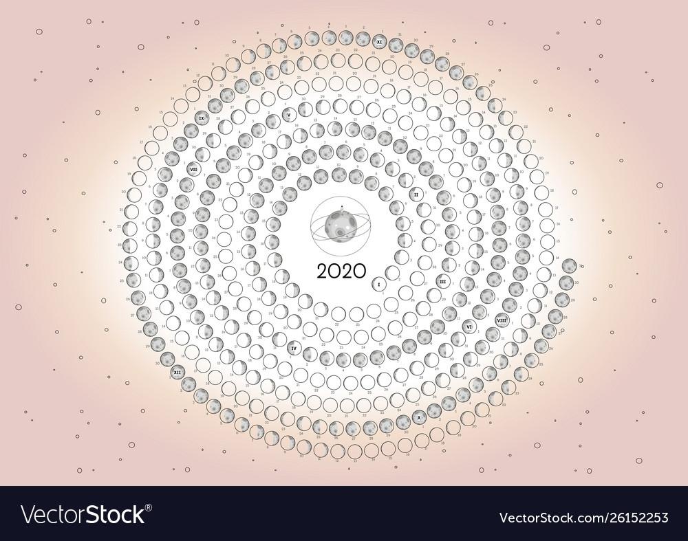 Moon Calendar 2020 Southern Hemisphere Pink Vector Image