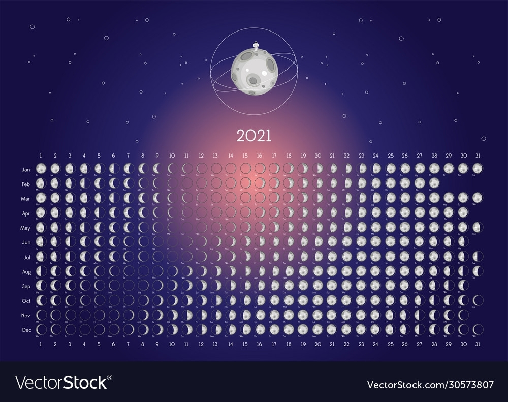 Moon Calendar 2021 Northern Hemisphere Blue Vector Image