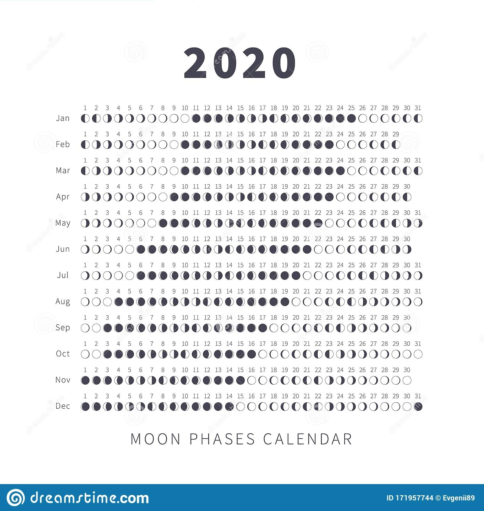 Moon Phase Calendar Stock Illustrations – 772 Moon Phase