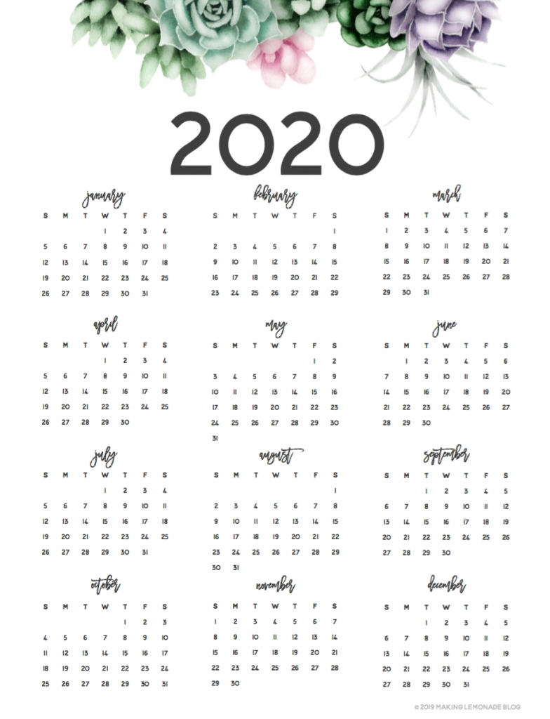 Musings Of An Average Mom: 2020 Year At A Glance Calendars