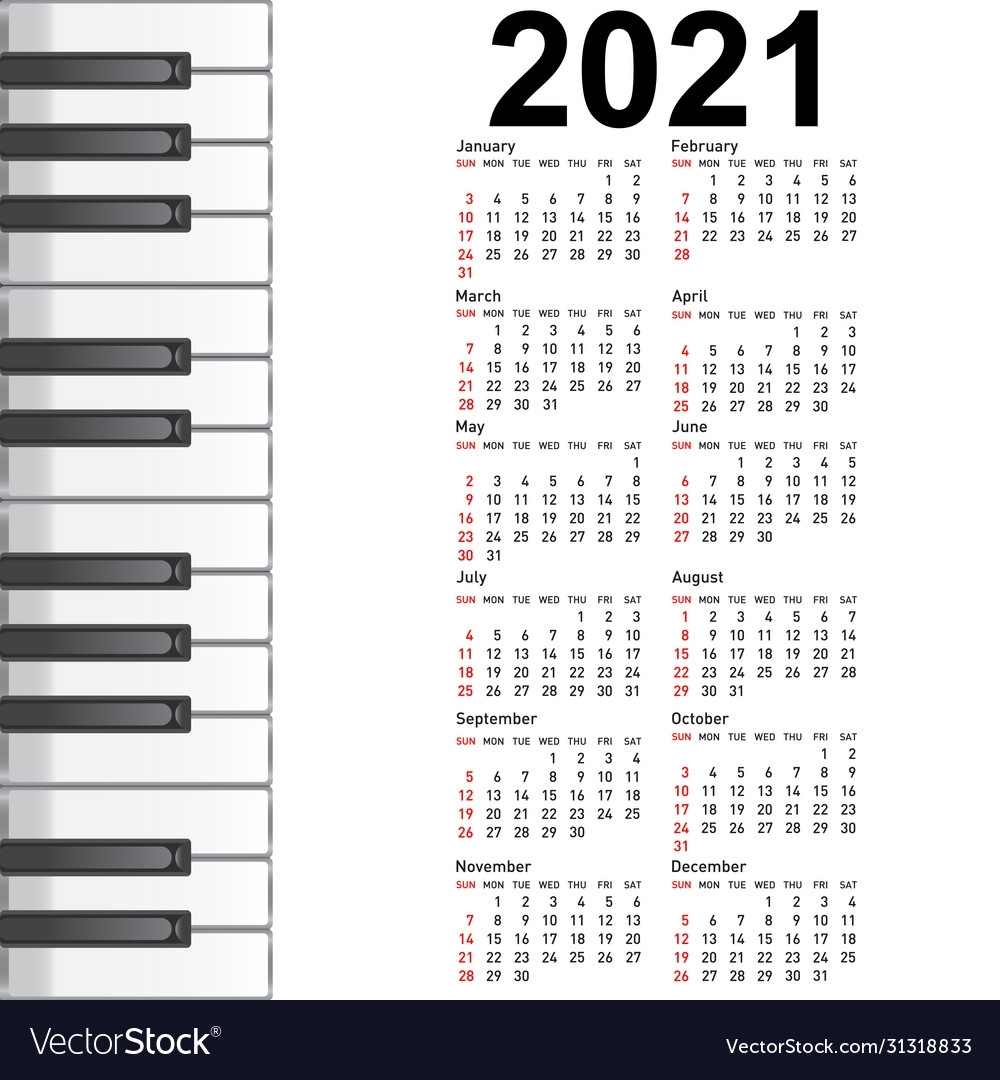 New Calendar 2021 With A Musical Background Piano Vector Image
