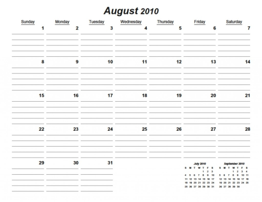 New Free Printable Calendars With Lines | Free Printable