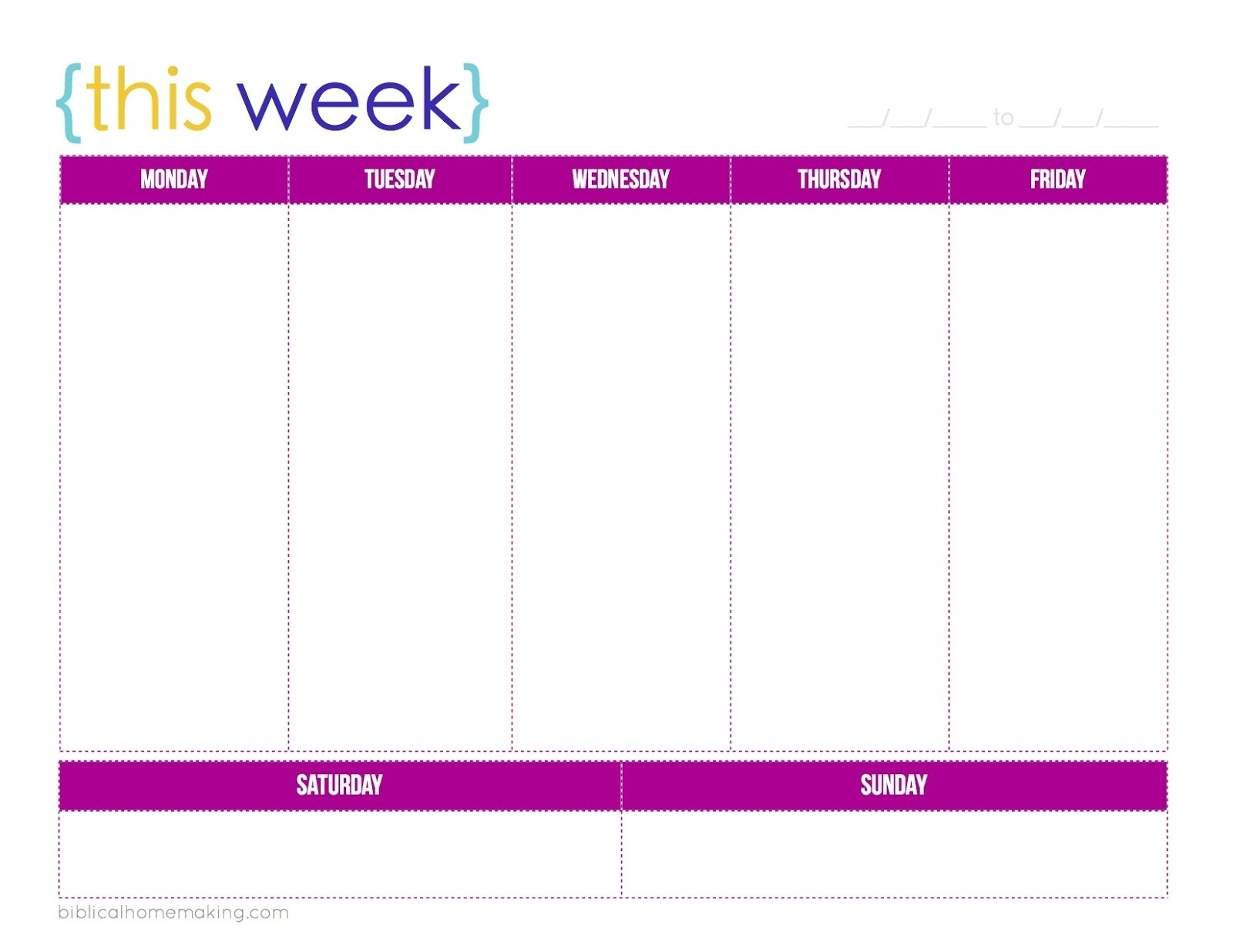 New One Week Printable Calendar | Free Printable Calendar