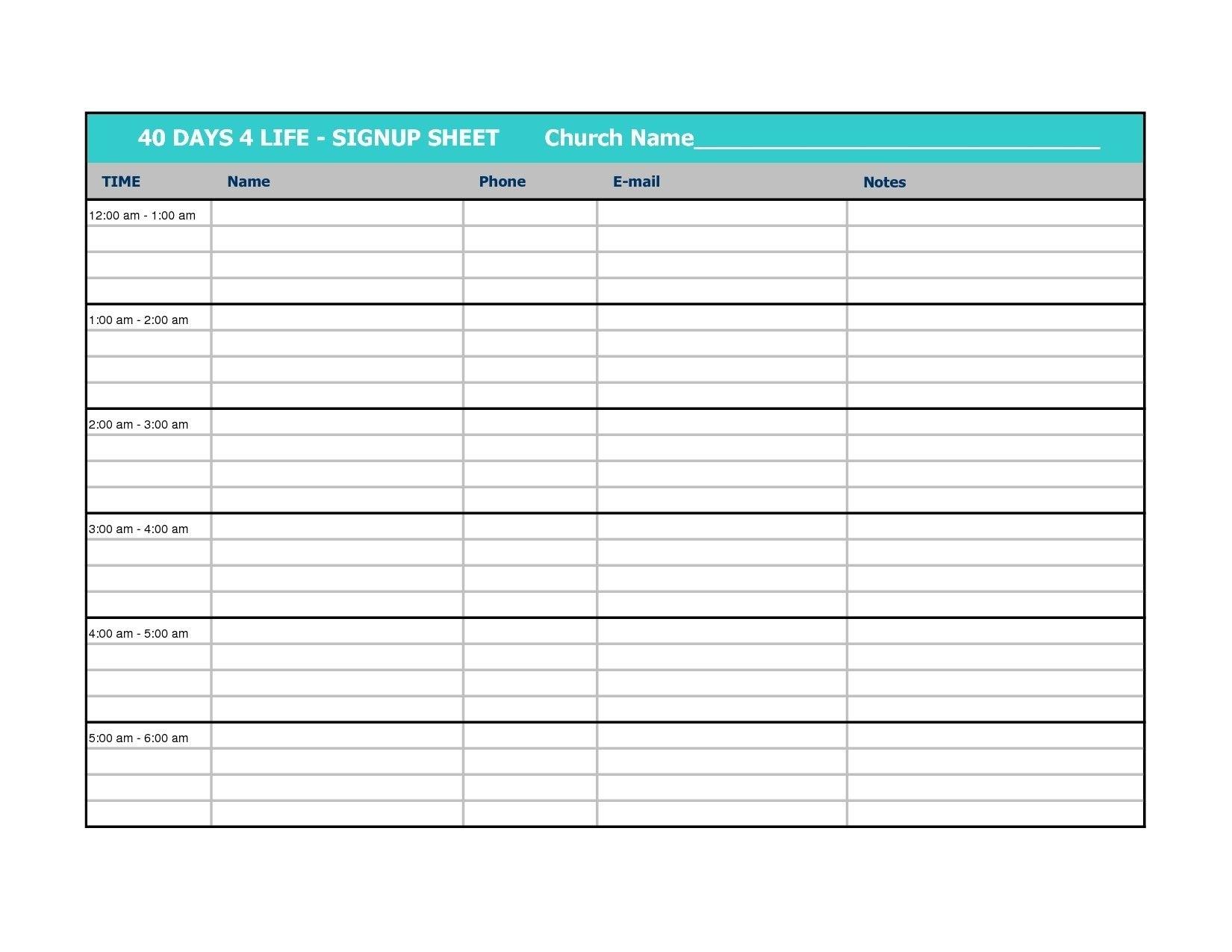 New Sign Up Calendar Template #Exceltemplate #Xls