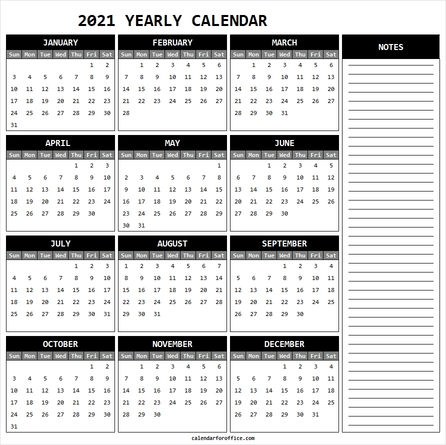 Notes Calendar 2021 Free - Printable 2021 Calendar With Holidays