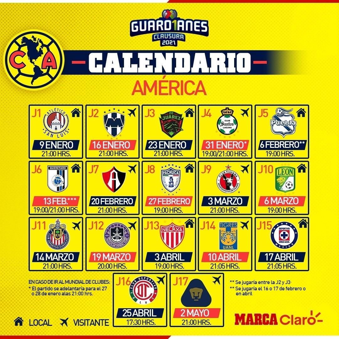 Noticias Del América: Calendario Del América Para El