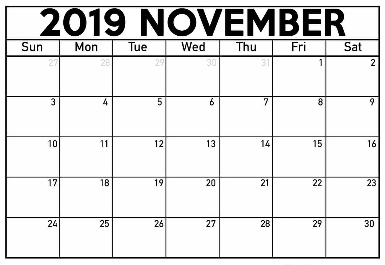November 2019 Calendar With Large Dates - 2019 Calendars For