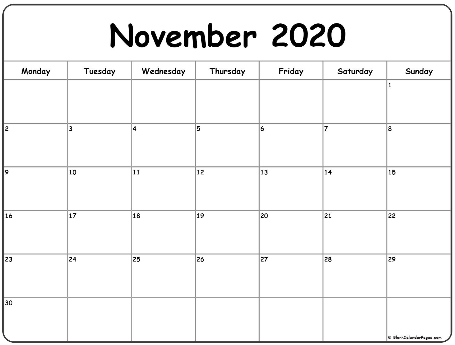 November 2020 Monday Calendar | Monday To Sunday In 2020