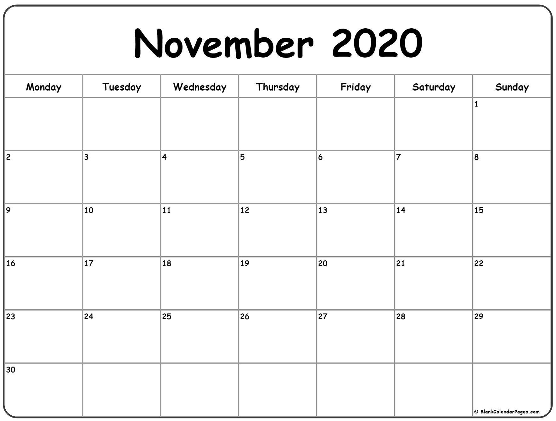 November 2020 Monday Calendar   Monday To Sunday In 2020