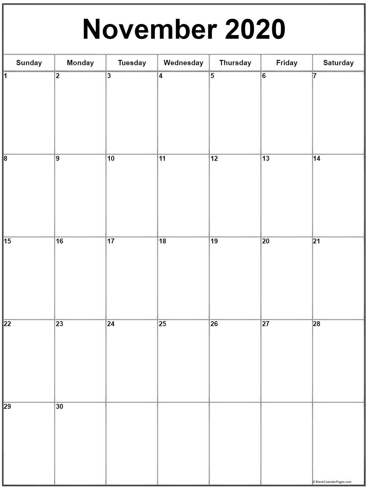 November 2020 Vertical Calendar   Portrait