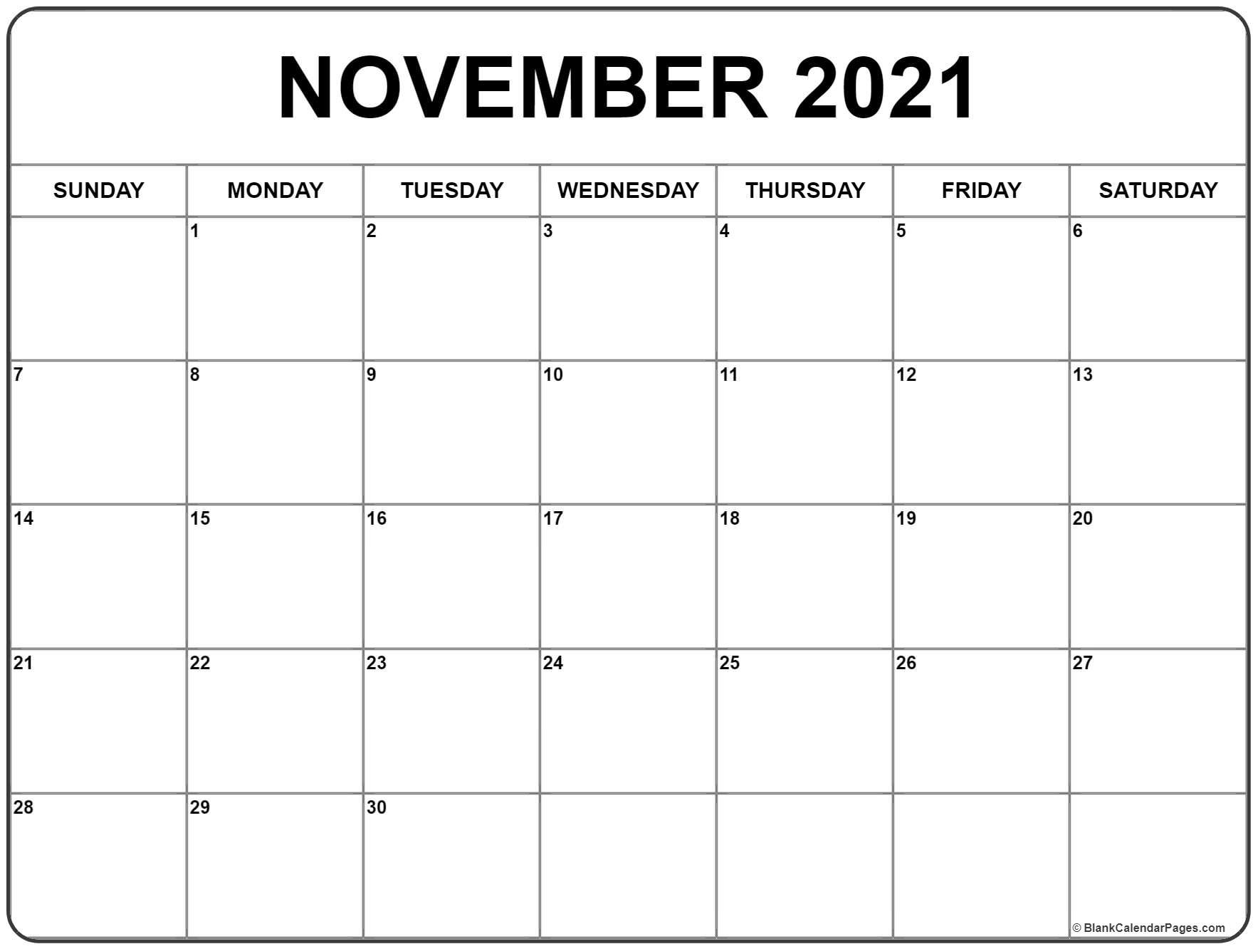 November 2021 Calendar | Free Printable Monthly Calendars