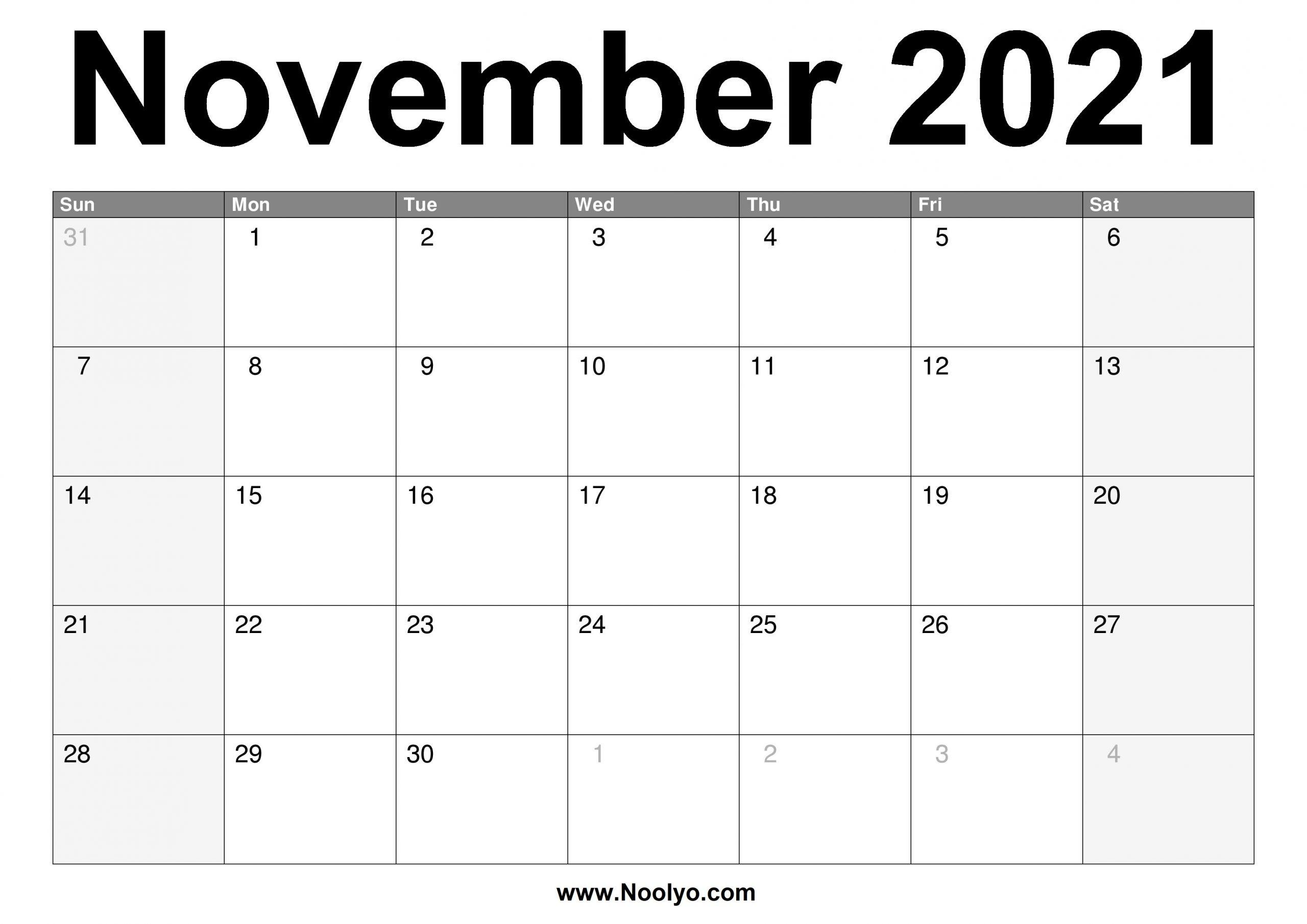 November 2021 Calendar Printable – Free Download – Noolyo
