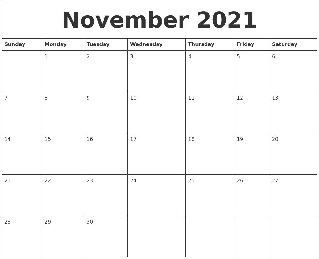November 2021 Editable Calendar Template