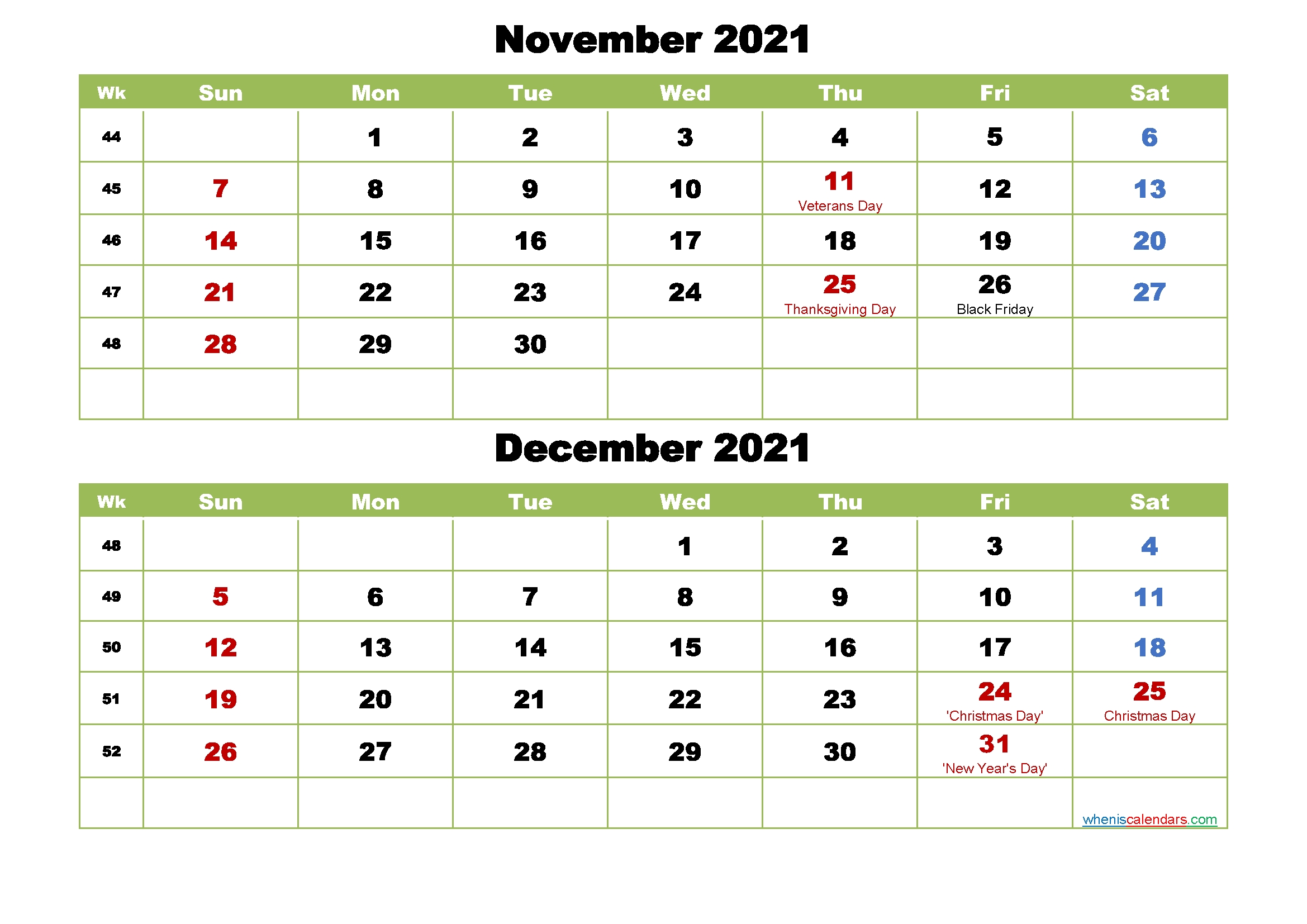 November And December 2021 Calendar With Holidays – Free