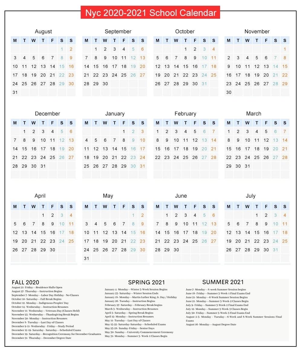 Nyc Doe Public School Calendar Holidays 2020-2021