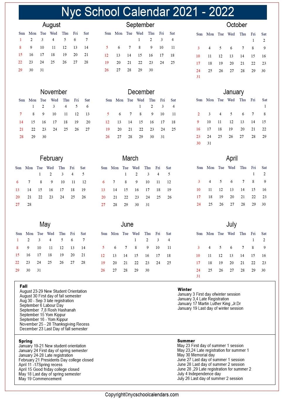 Nyc School Calendar 2021 ✅❤️