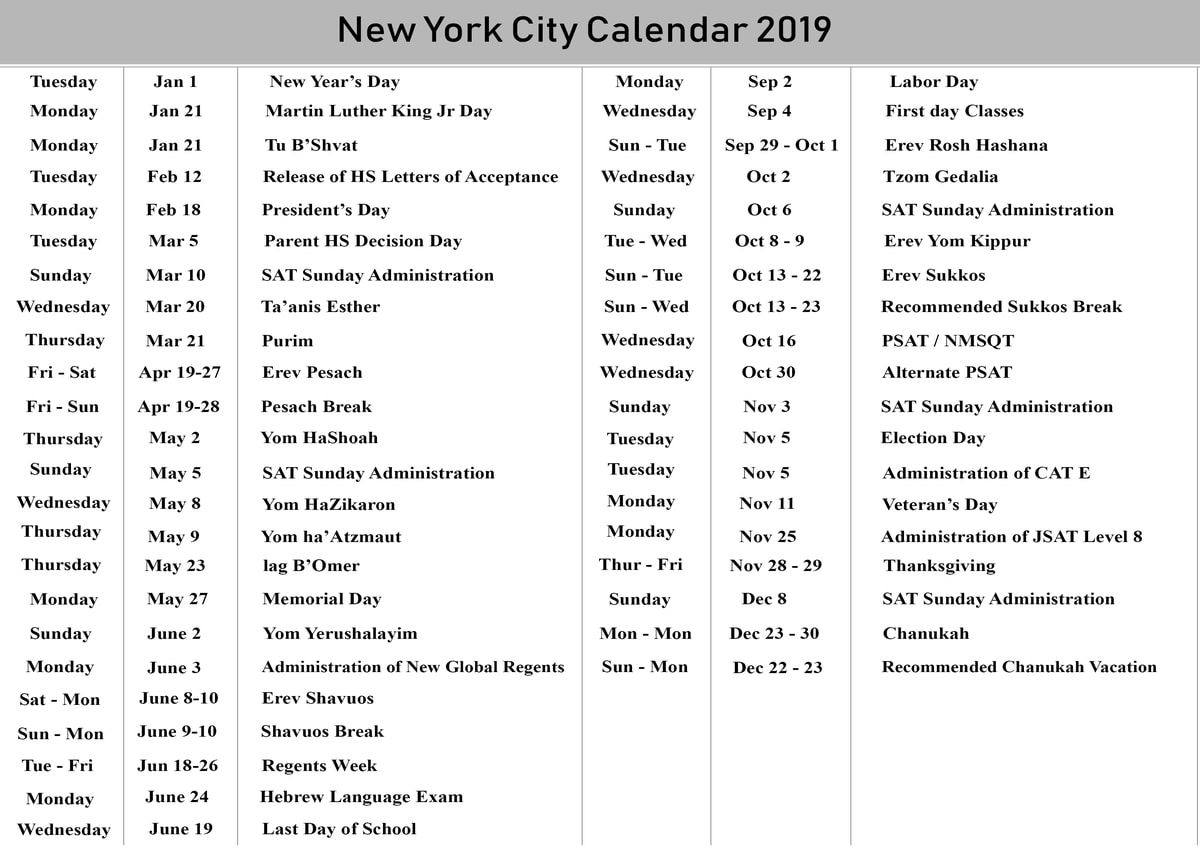 Nyc School Holidays Calendar 2019 – 2020 | Nyc School