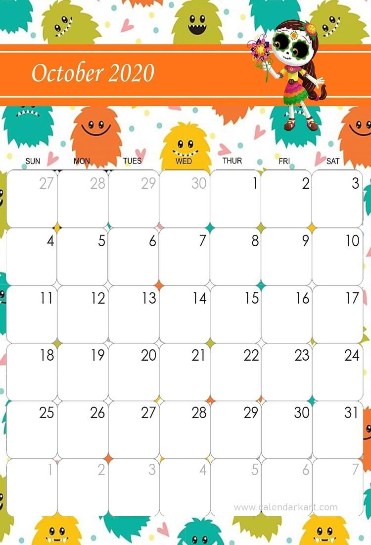 October 2020 Calendar Halloween Theme In 2020 | Kids