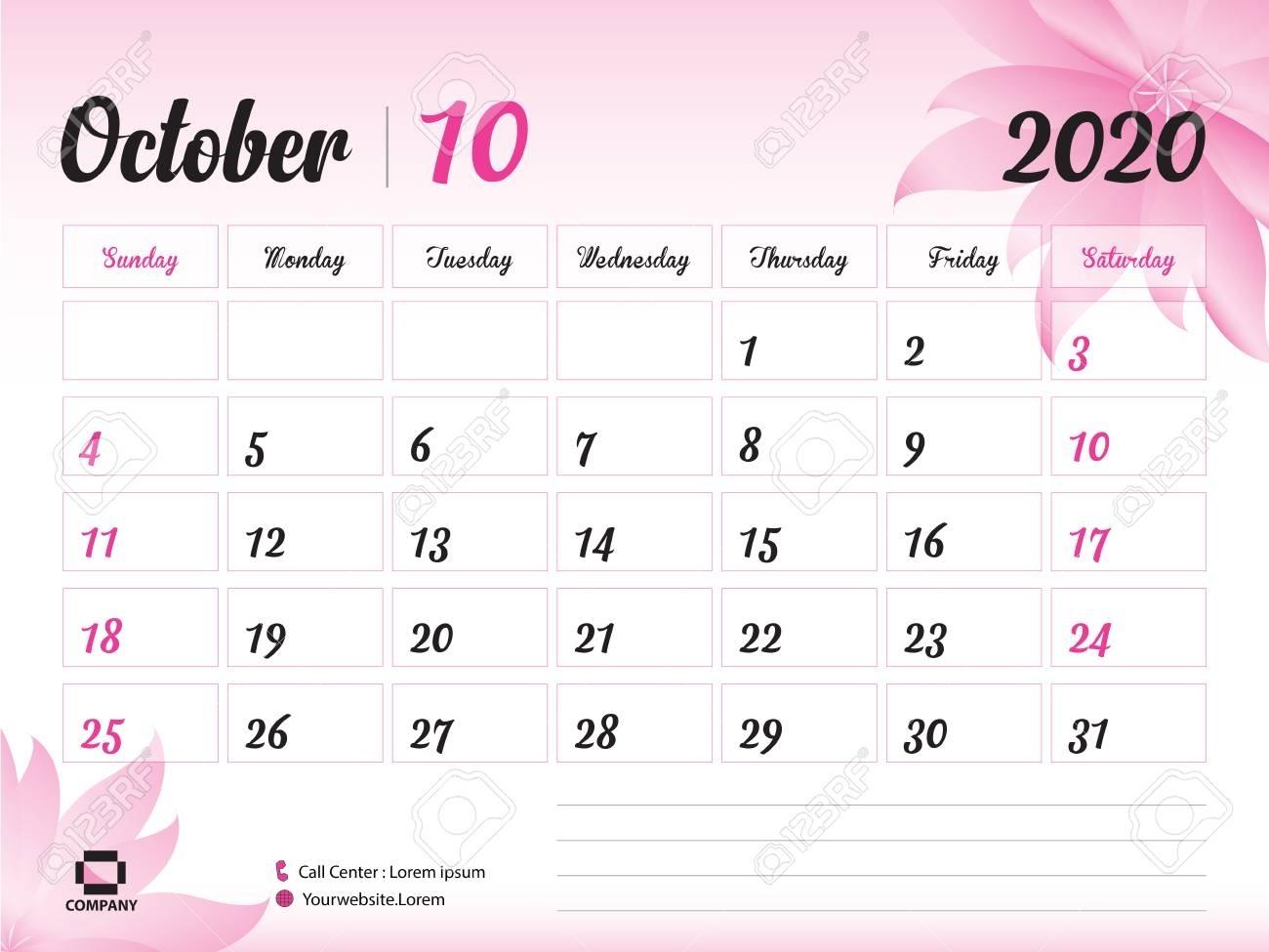 October 2020 Year Template, Calendar 2020, Desk Calendar Design,..