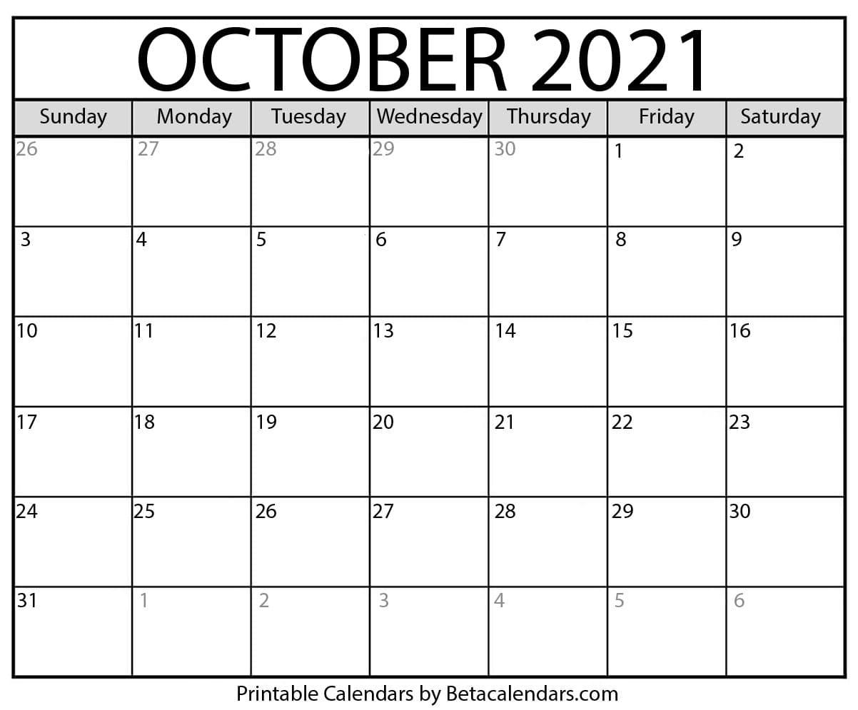 October 2021 Calendar | Blank Printable Monthly Calendars