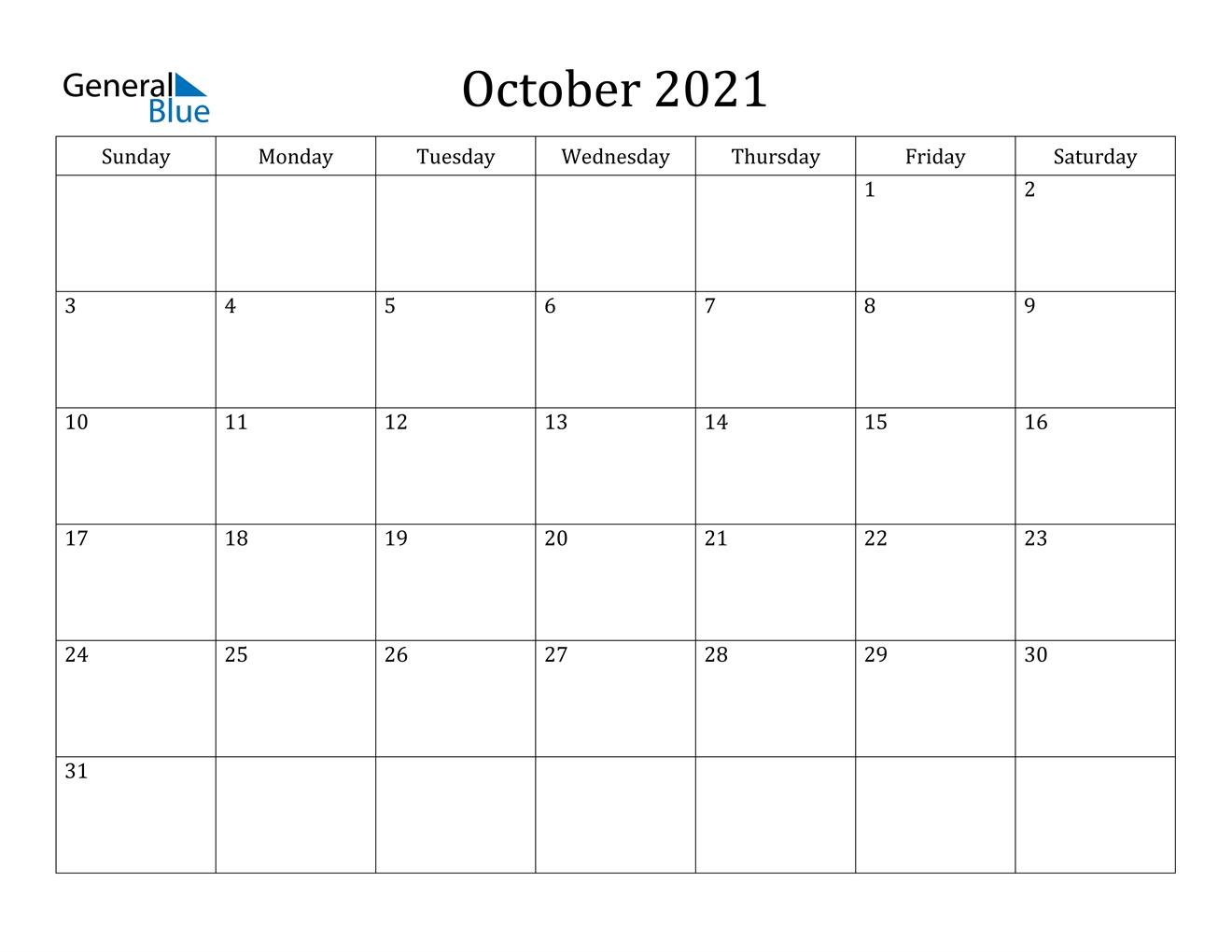 October 2021 Calendar - Pdf Word Excel