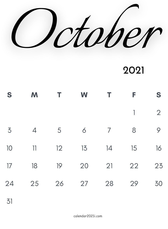 October 2021 Calligraphy Calendar In 2020 | Monthly Calendar