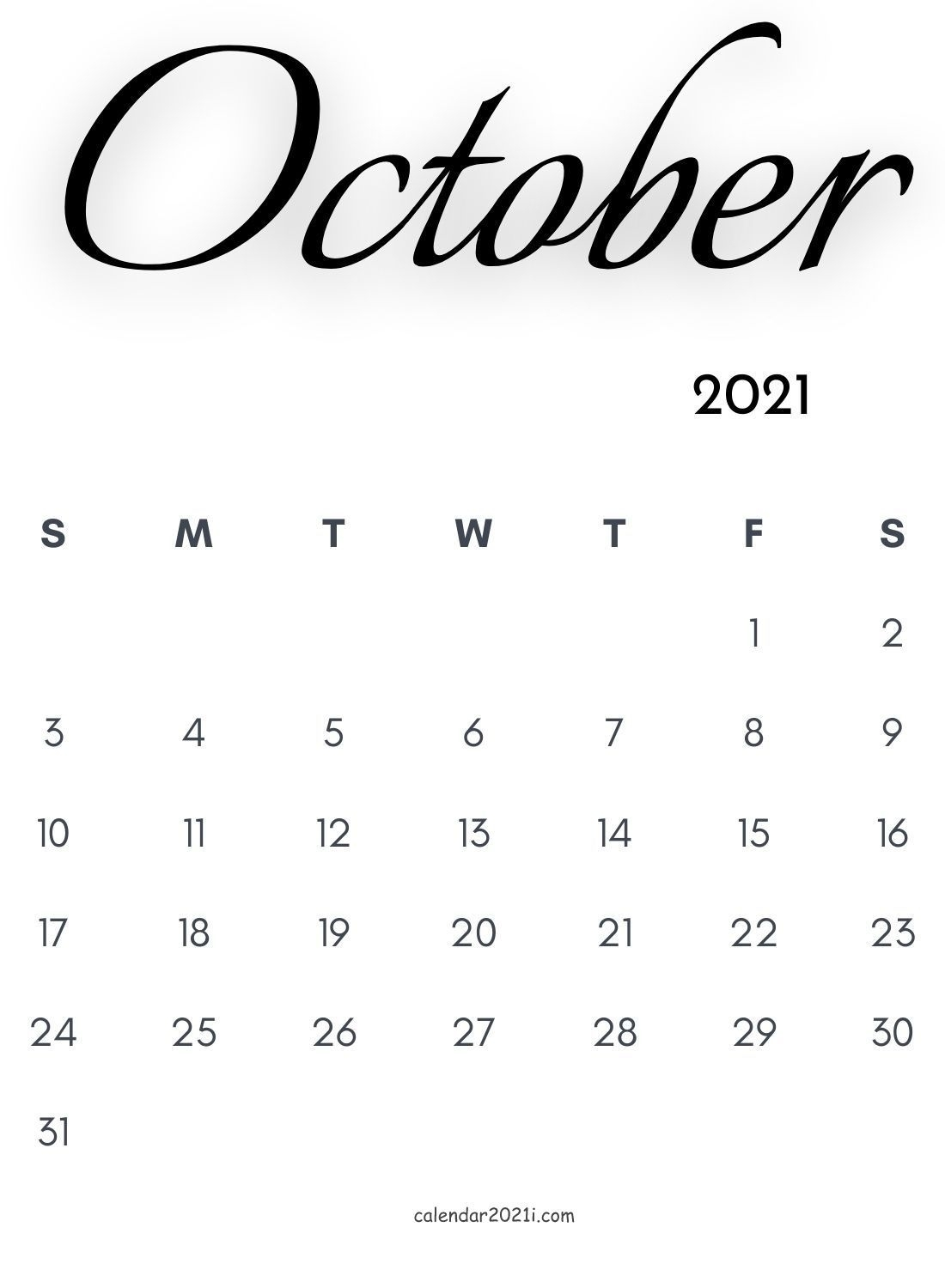 October 2021 Calligraphy Calendar In 2020 | Monthly Calendar