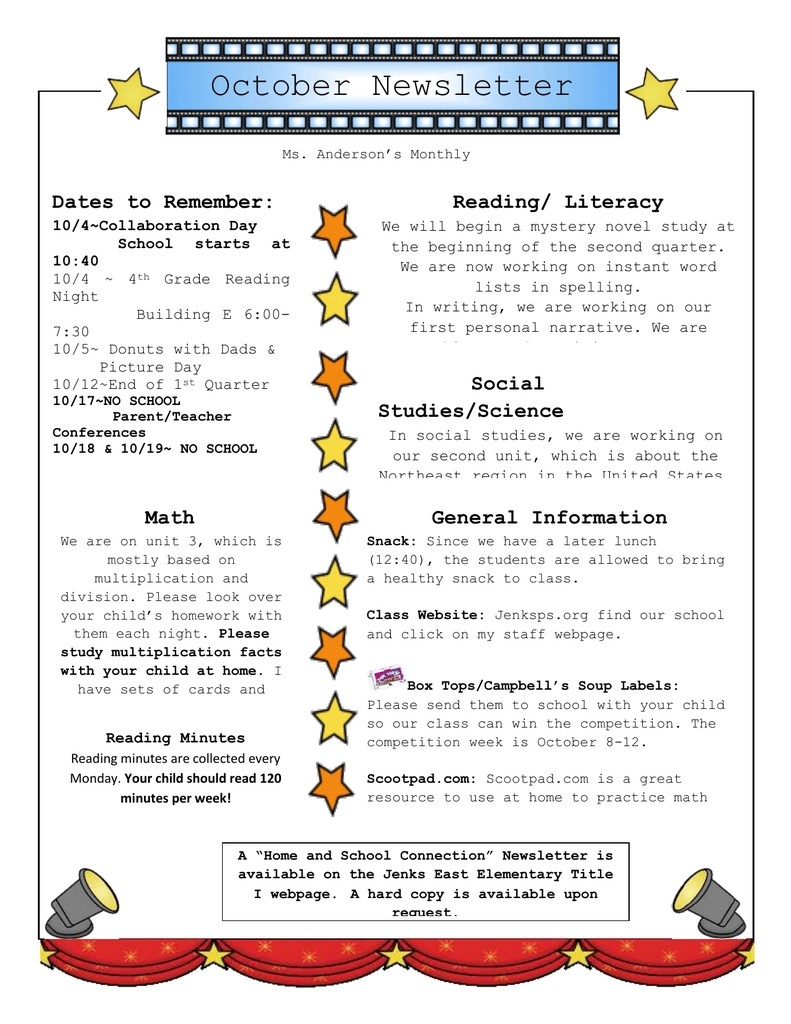 October Newsletter Dates To Remember: Reading/ Literacy