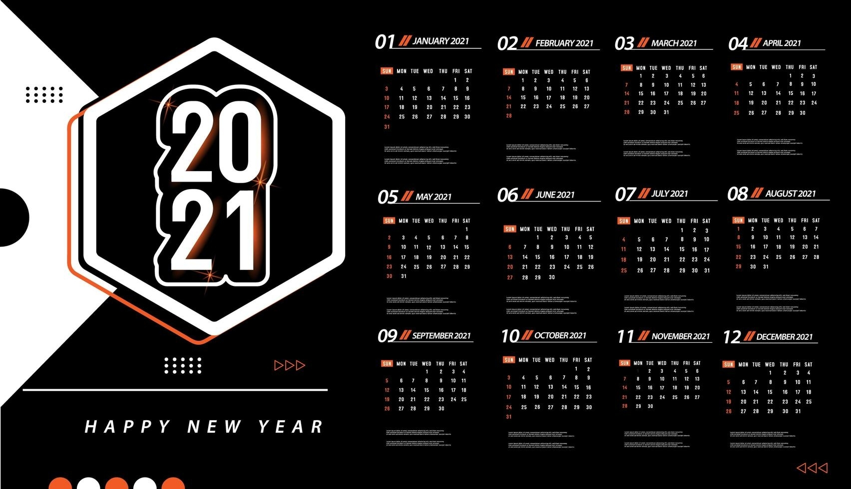 One Page 2021 Calendar Template - Download Free Vectors