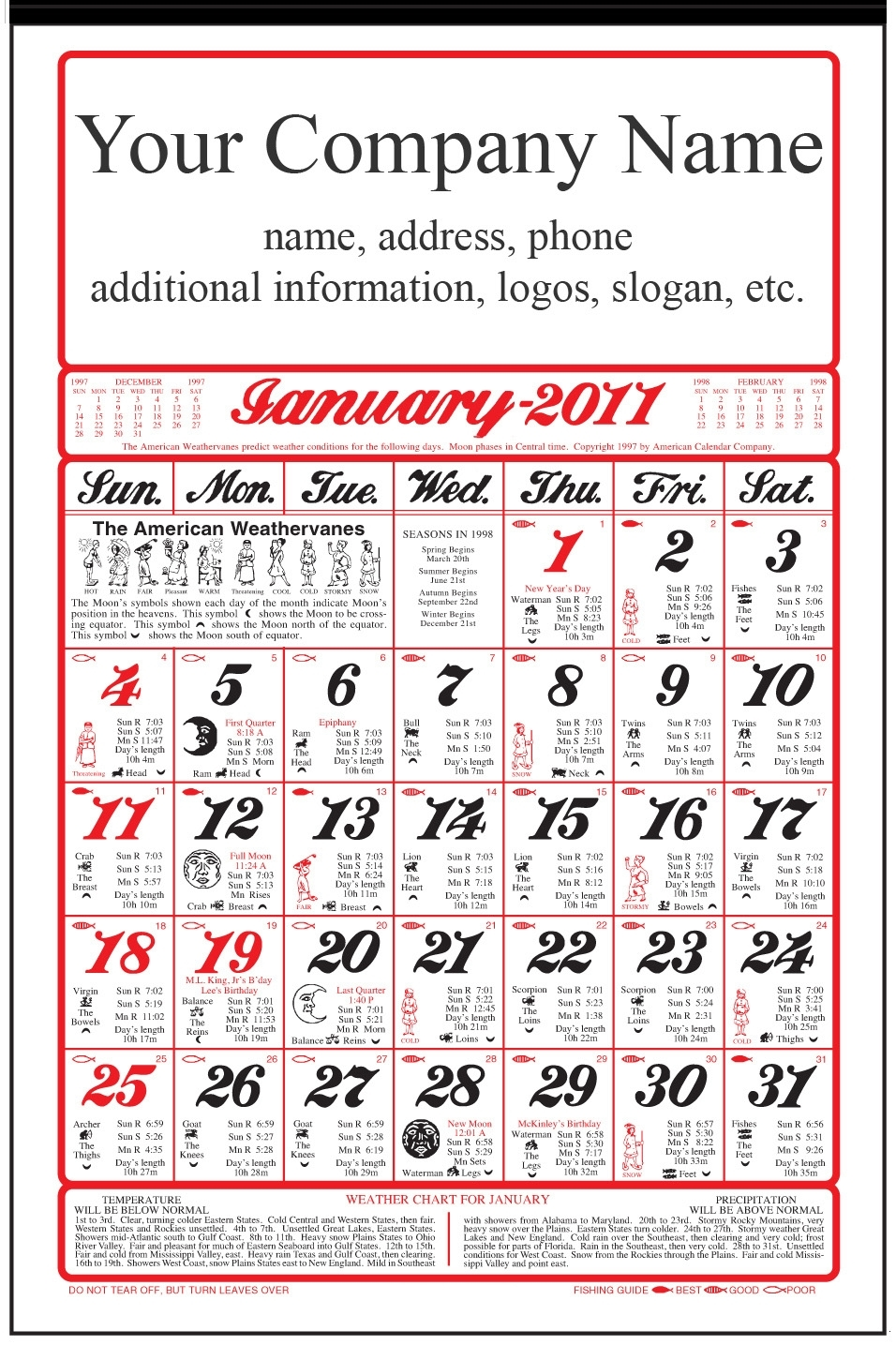 Original Almanac Calendar Old Fashioned(With Ad)Garden Farmers And Helpful  Hints