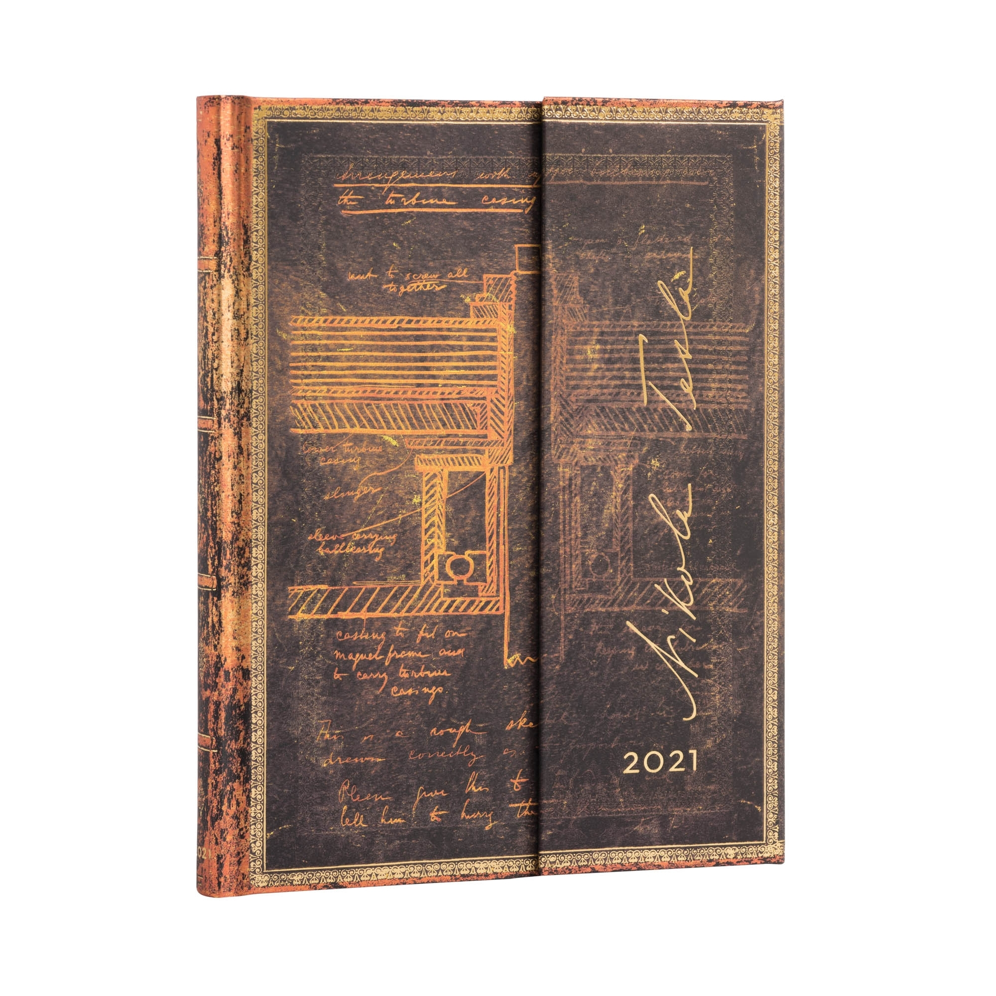 Paperblanks Ultra Tesla Turbine 2021 Week-At-A-Time Planner,  Lovenotebooks The Notebook Experts