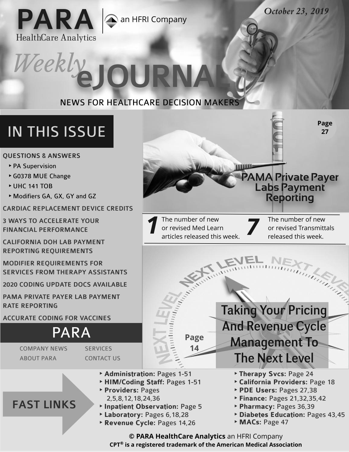 Para Healthcare Analytics Ejournal October 23, 2019