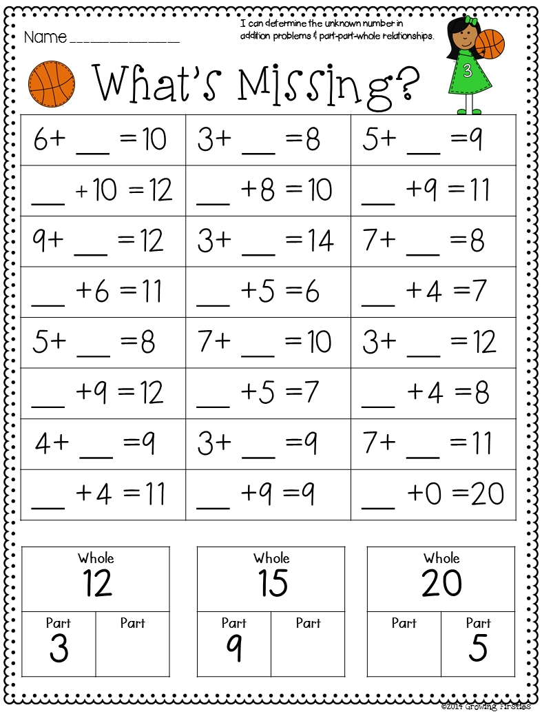 Part Part Whole And March Printables | First Grade Math